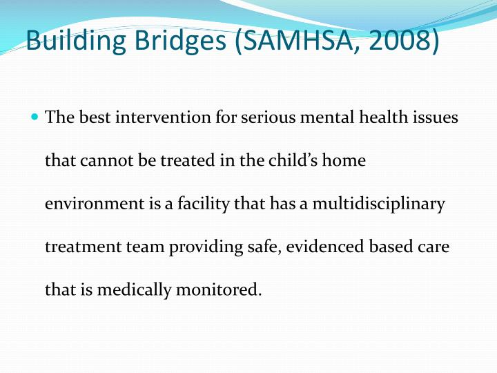 Building Bridges (SAMHSA, 2008)
