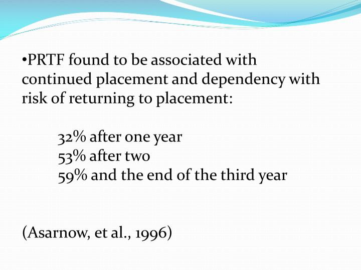 PRTF found to be associated with continued placement and dependency with risk of returning to placement: