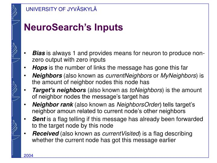 NeuroSearch's Inputs