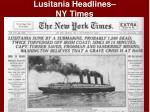 lusitania headlines ny times