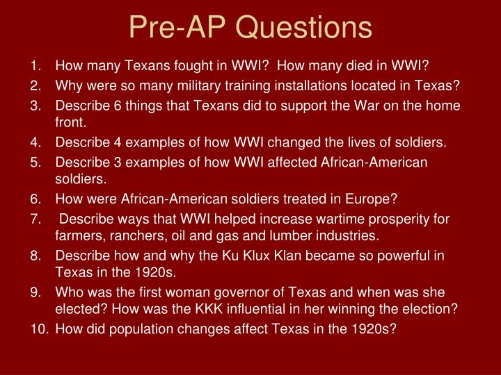 Pre-AP Questions