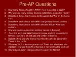 pre ap questions