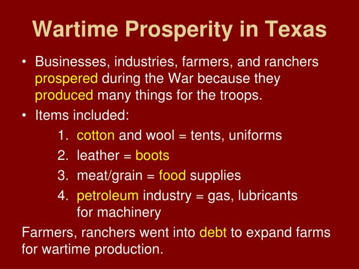 Wartime Prosperity in Texas