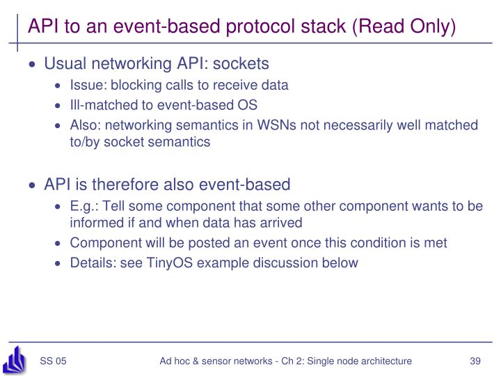 API to an event-based protocol stack (Read Only)