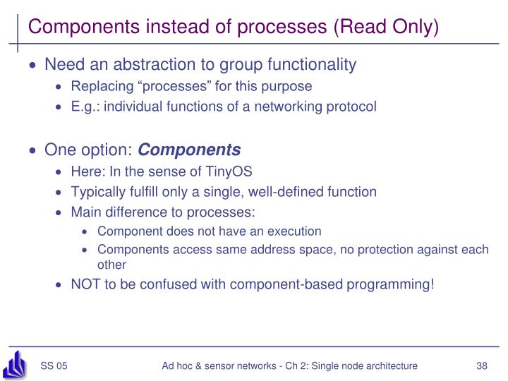 Components instead of processes (Read Only)