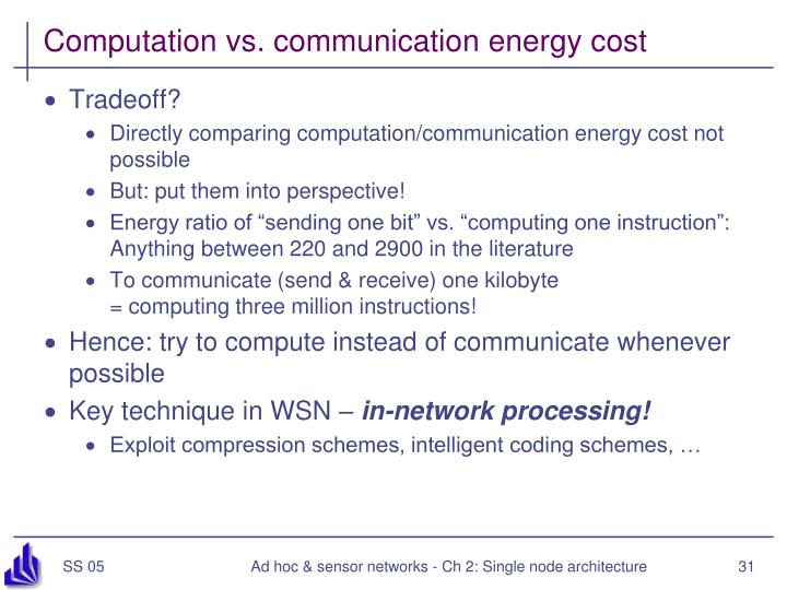 Computation vs. communication energy cost