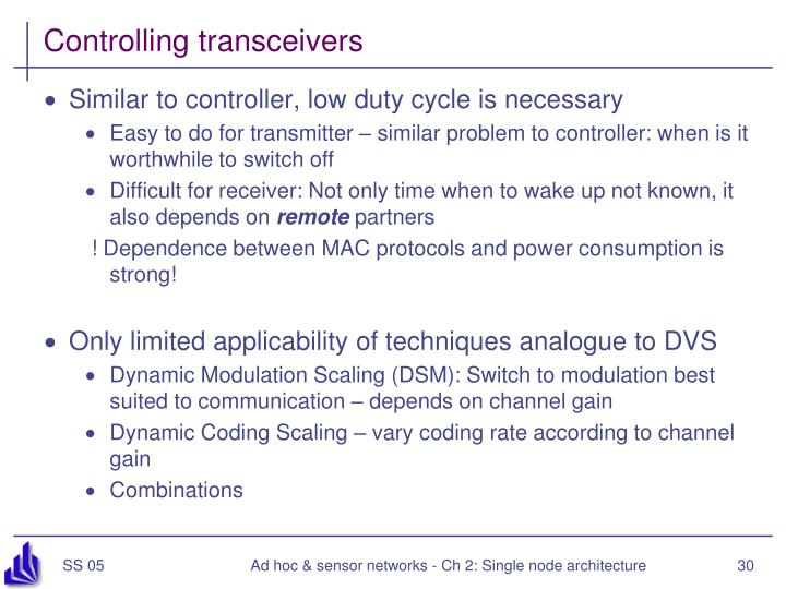 Controlling transceivers
