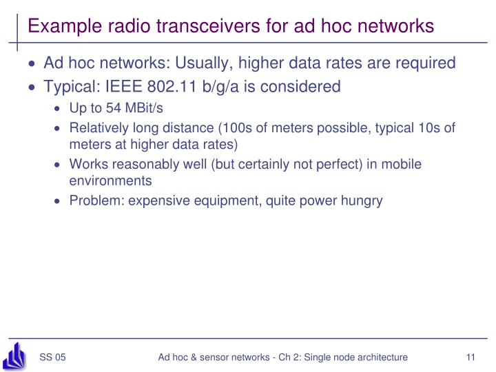 Example radio transceivers for ad hoc networks