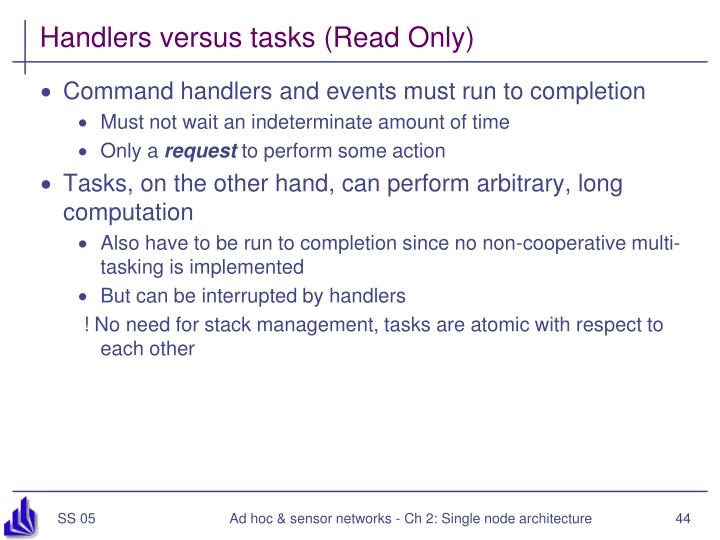 Handlers versus tasks (Read Only)