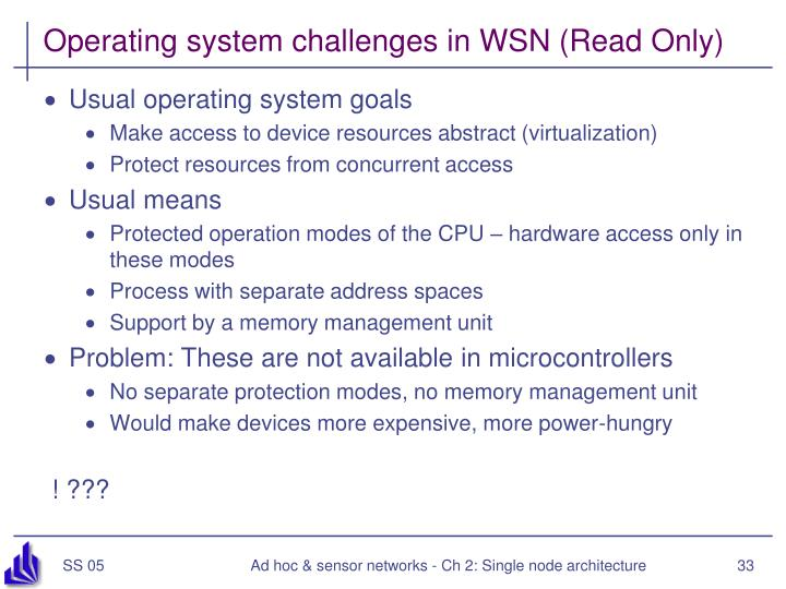 Operating system challenges in WSN (Read Only)