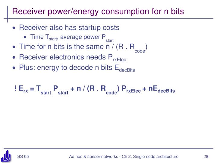 Receiver power/energy consumption for n bits