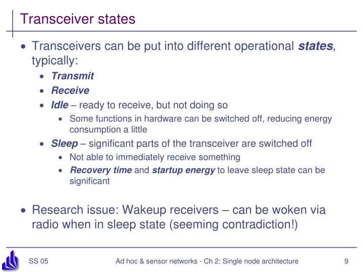 Transceiver states
