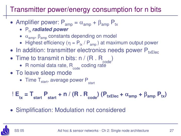 Transmitter power/energy consumption for n bits