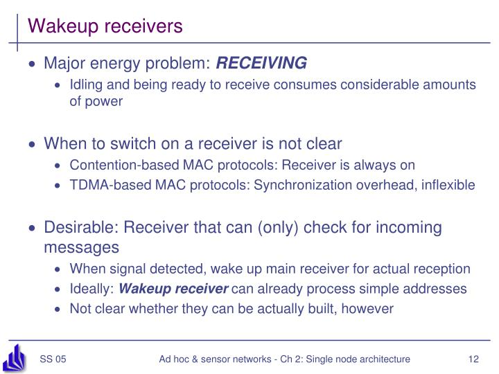 Wakeup receivers