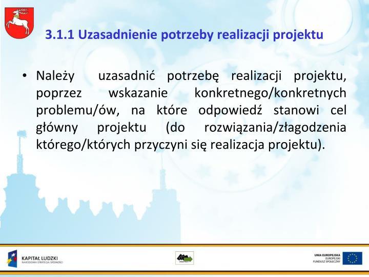 3.1.1 Uzasadnienie potrzeby realizacji projektu