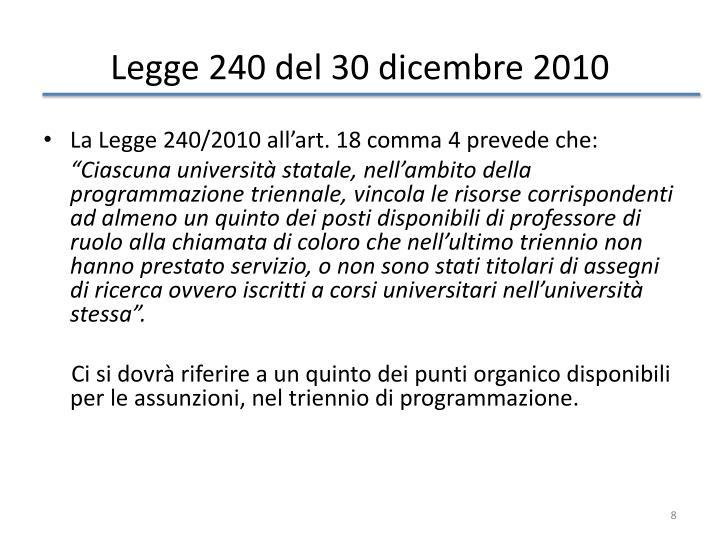 Legge 240 del 30 dicembre 2010
