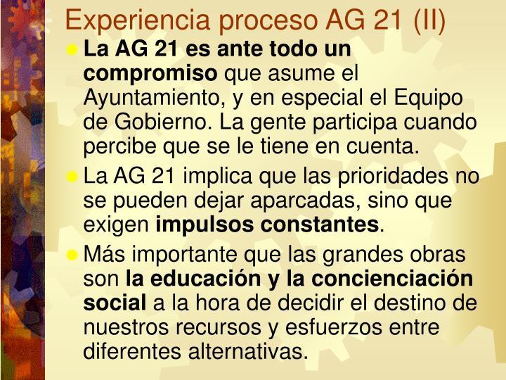 Experiencia proceso AG 21 (II)