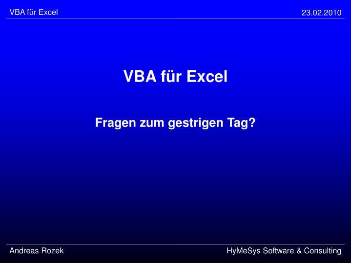 VBA für Excel
