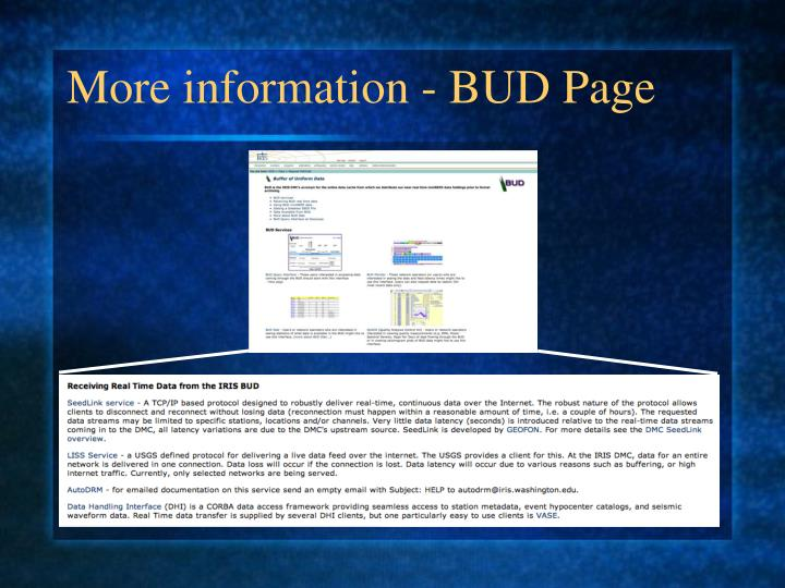 More information - BUD Page
