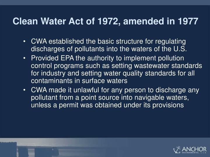 Clean Water Act of 1972, amended in 1977