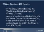 cwa section 401 cont