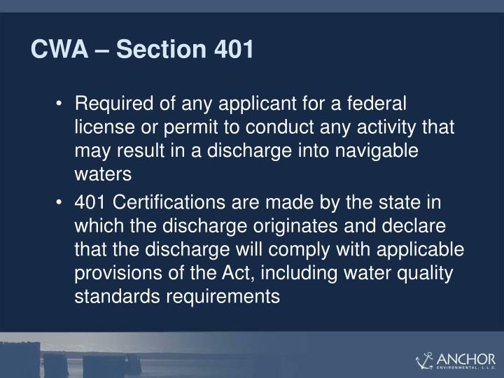CWA – Section 401