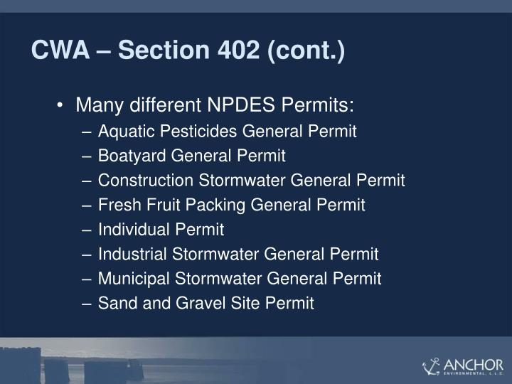 CWA – Section 402 (cont.)