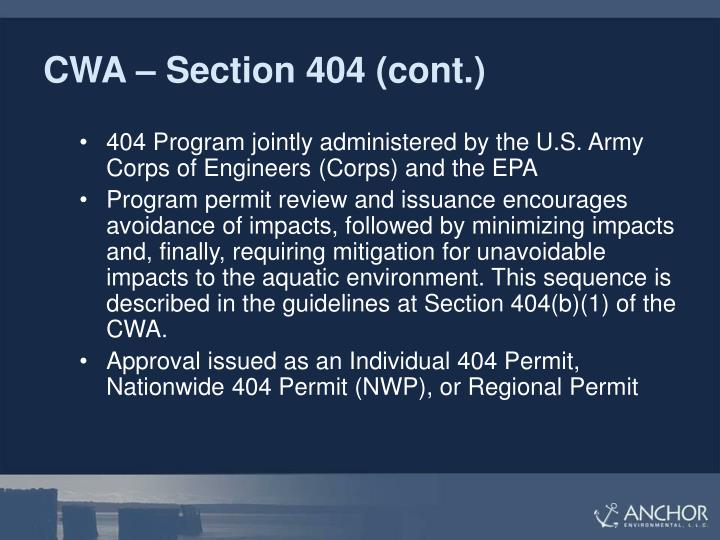 CWA – Section 404 (cont.)