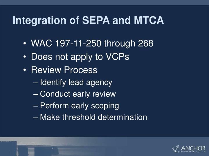 Integration of SEPA and MTCA