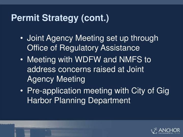 Permit Strategy (cont.)