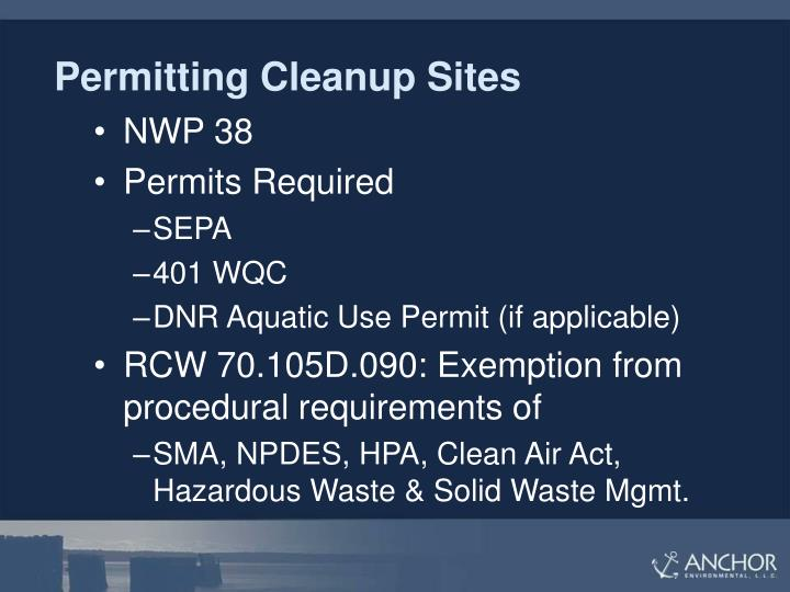 Permitting Cleanup Sites