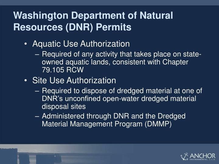 Washington Department of Natural Resources (DNR) Permits