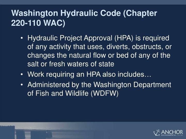 Washington Hydraulic Code (Chapter 220-110 WAC)