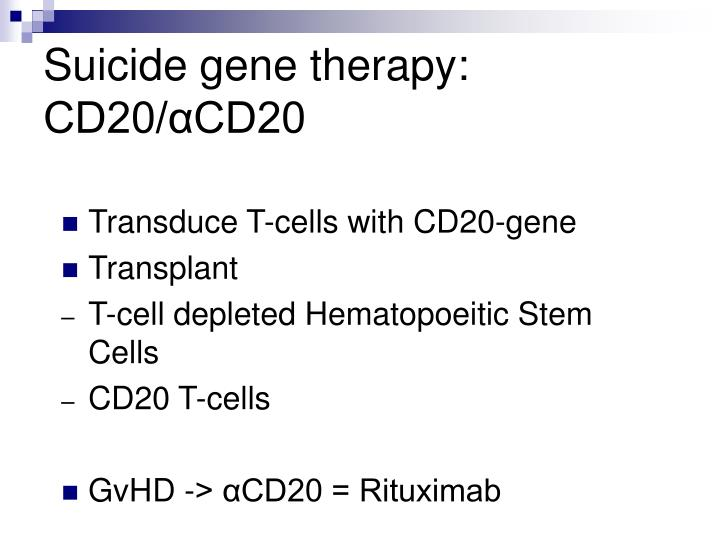Suicide gene therapy: CD20/αCD20