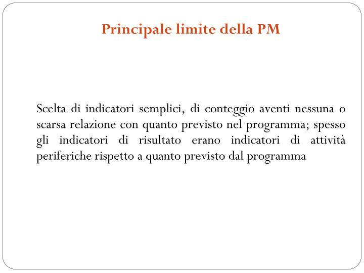 Principale limite della PM