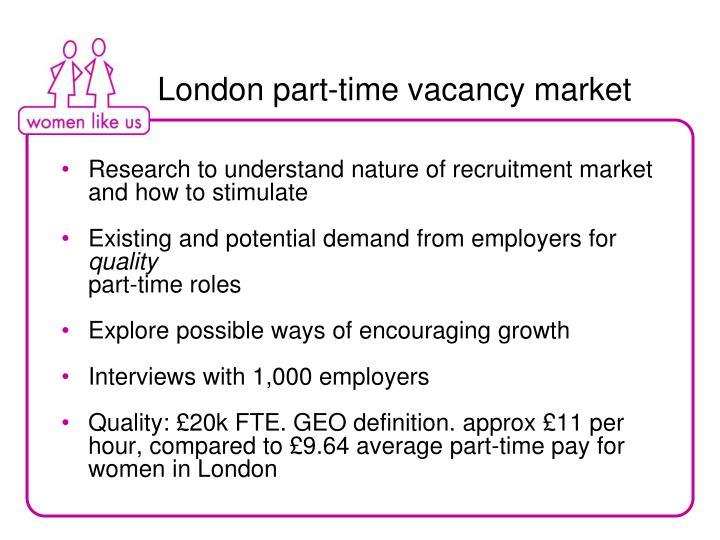 London part-time vacancy market