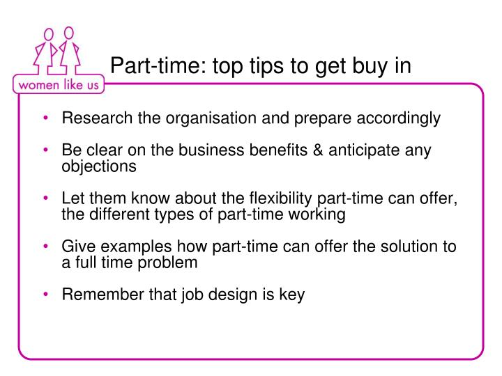 Part-time: top tips to get buy in