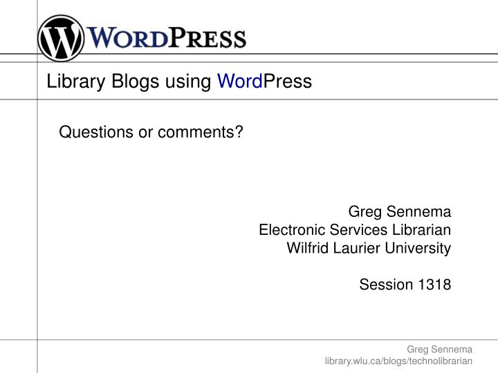 Library Blogs using