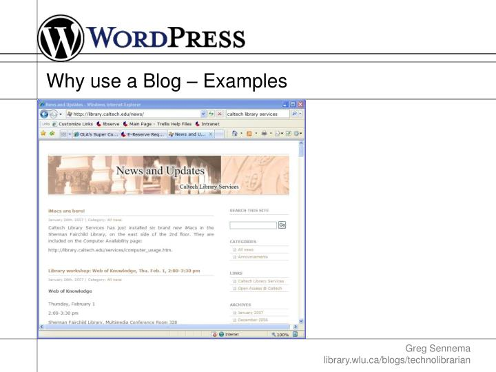 Why use a Blog – Examples