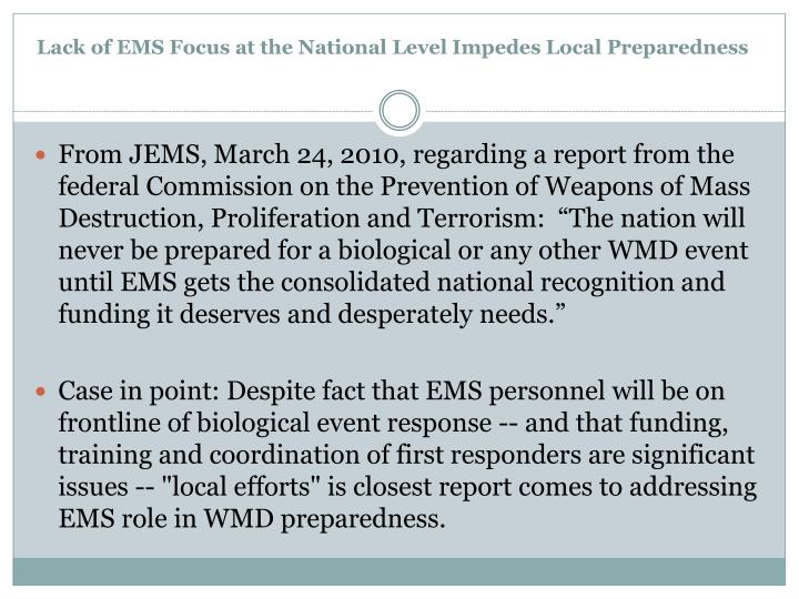 Lack of EMS Focus at the National Level Impedes Local Preparedness