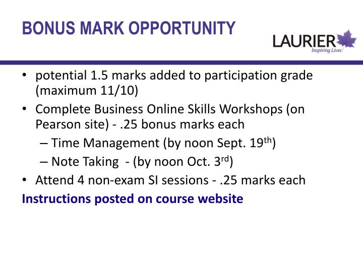 BONUS MARK OPPORTUNITY