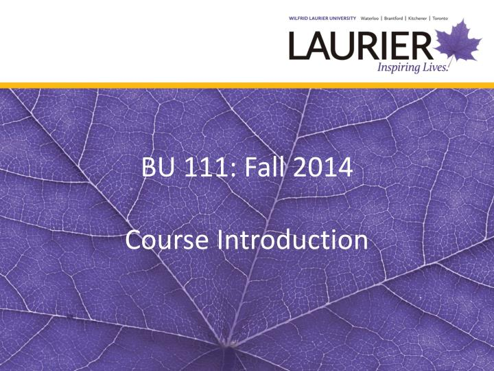 Bu 111 fall 2014 course introduction