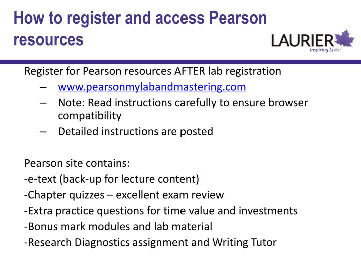 How to register and access Pearson resources