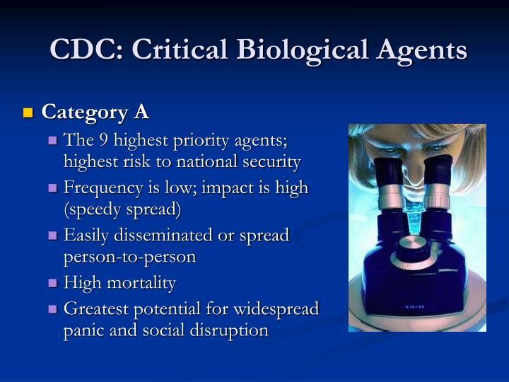 CDC: Critical Biological Agents