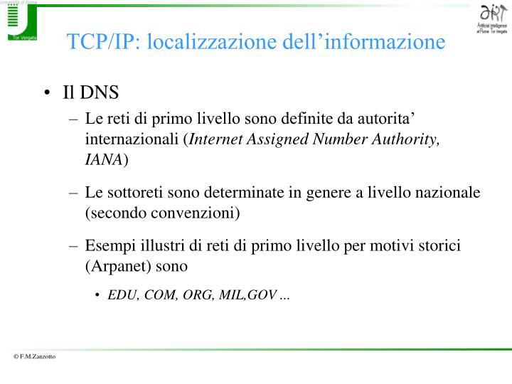 TCP/IP: localizzazione dell'informazione