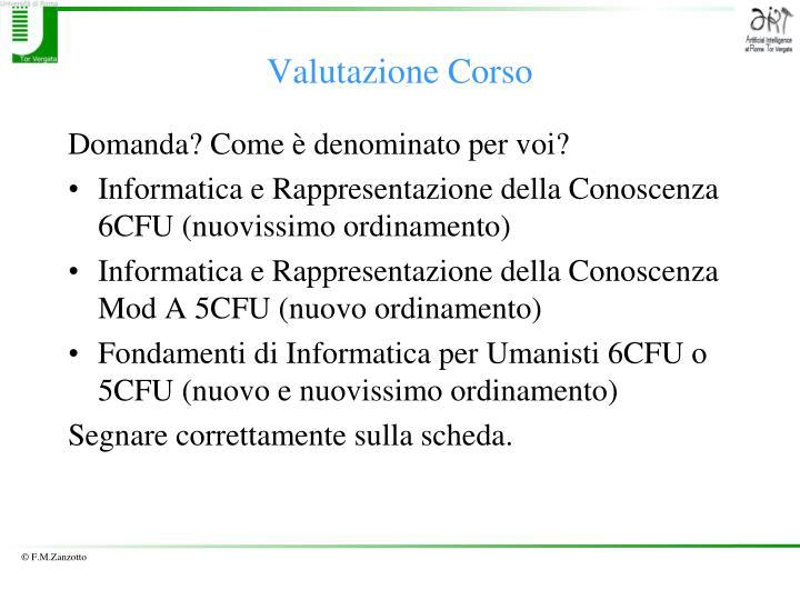 Valutazione Corso