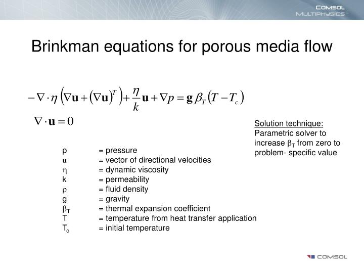Brinkman equations for porous media flow