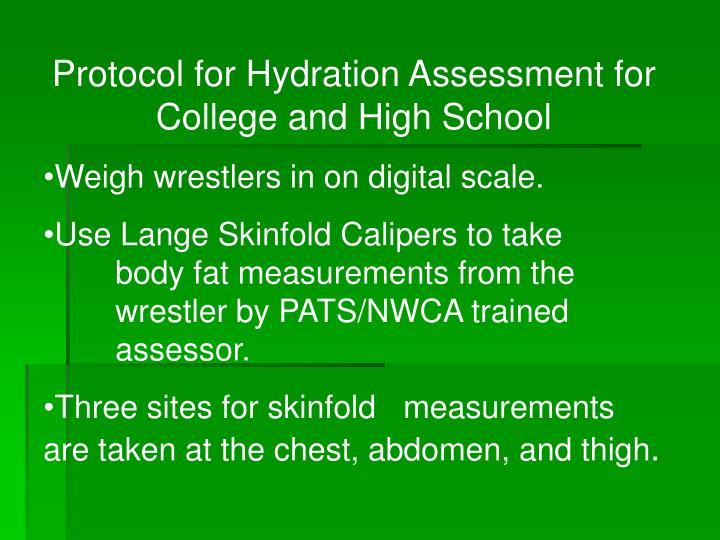 Protocol for Hydration Assessment for College and High School