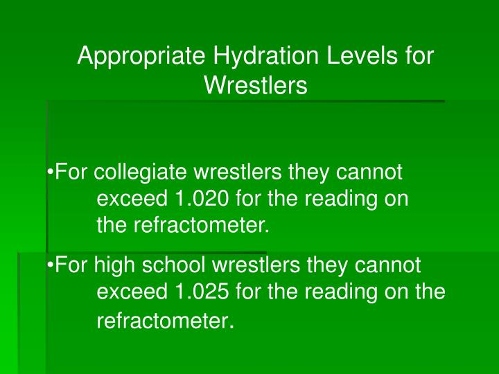 Appropriate Hydration Levels for Wrestlers