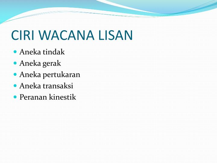 CIRI WACANA LISAN